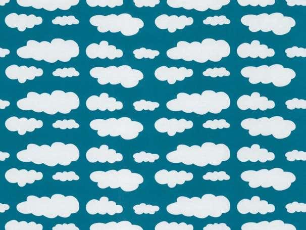 Jersey Stoff - Wolken - petrol