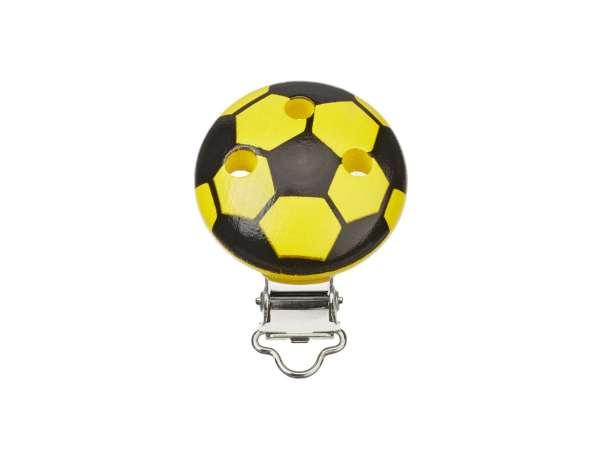 Schnulli-Ketten Clip - Fußball - schwarz/gelb