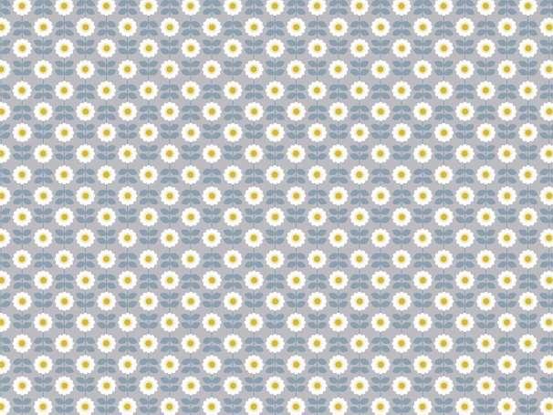 Baumwolle Stoff graublau - Retro Daisy