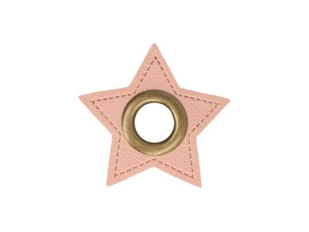 1 Kunstleder-Stern mit Öse - 8 mm - rosa/bronze