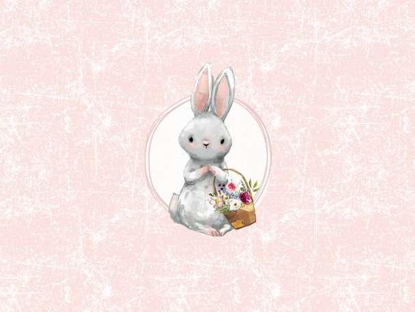 Jersey Stoff - Häschen PANEL - Hase mit Blumenkorb