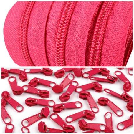2m Endlos-Reißverschluss + 5 Zipper pink