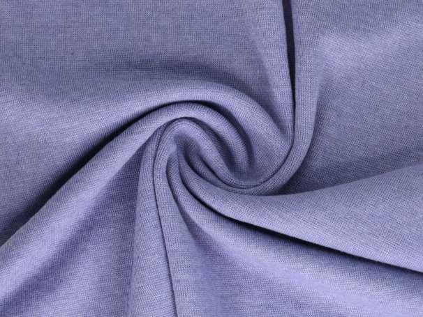 Bündchenstoff - weiß melange - helles jeansblau