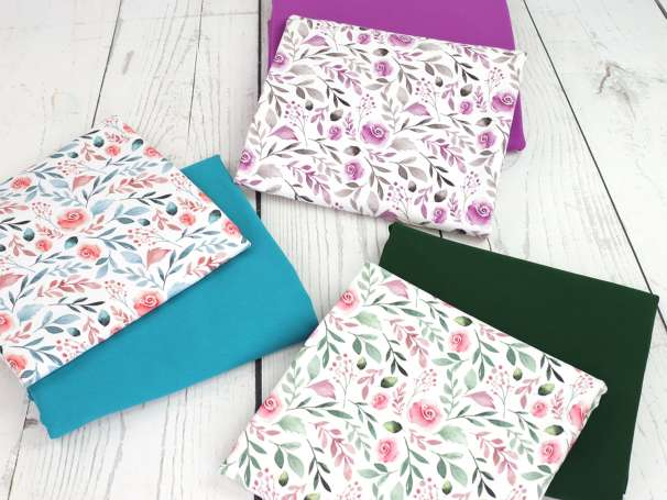 Jersey Stoff - Watercolor Flower - verschiedene Farben