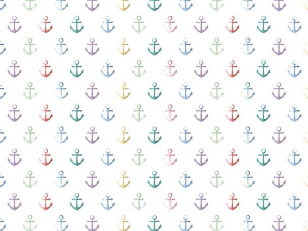 Jersey Stoff - Watercolor Anchor - bunt