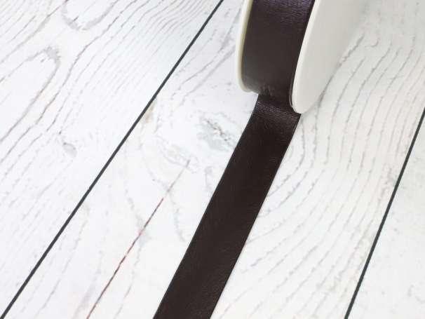 Kunstleder Schrägband - 25mm - dunkelbraun