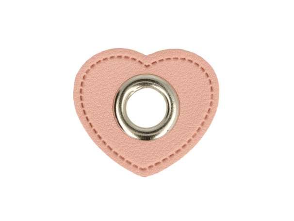1 Kunstleder-Herz mit Öse - 8 mm - rosa/silber