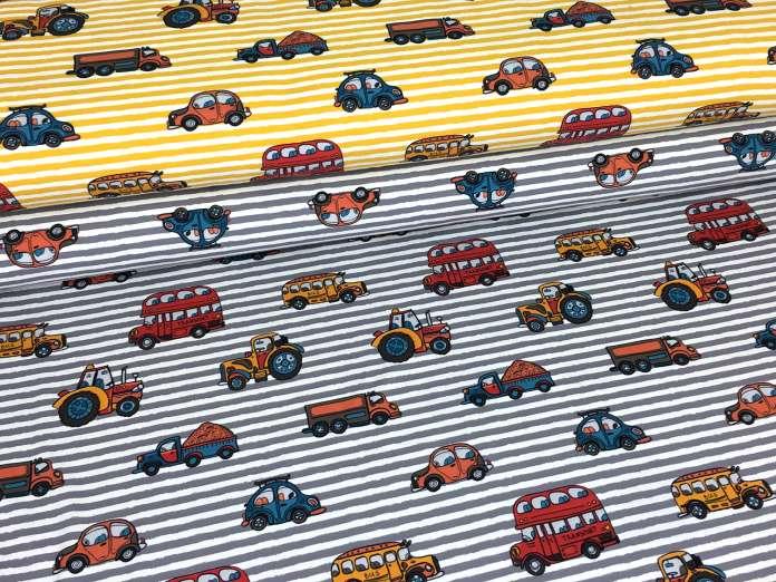 Jersey Stoff - Streifen & Autos - verschiedene Farben