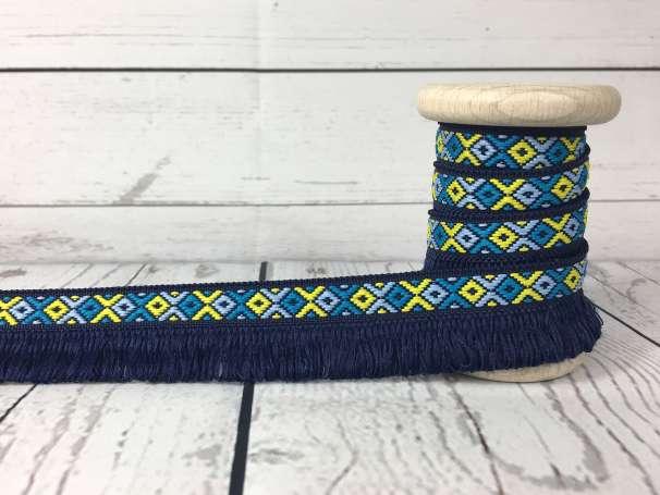 Zierband Indianerfransen - dunkelblau