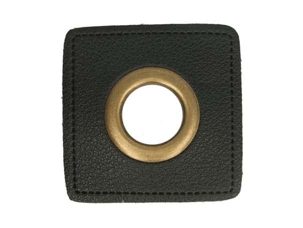 1 Kunstleder-Quadrat mit Öse - 14 mm - schwarz/bronze