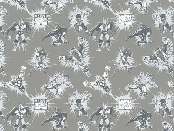 Baumwolle Stoff - Marvel Tonal in Grey