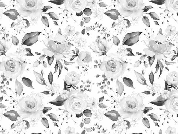 French Terry - Aquarell Blumen - grau