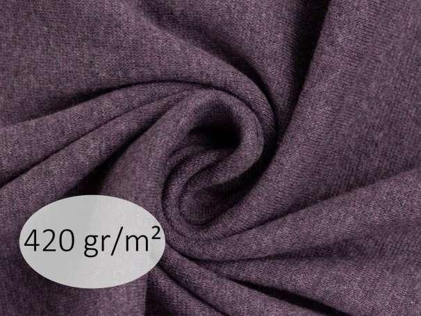 Bündchenstoff - ANTJE 420 gr. - dunkellila meliert