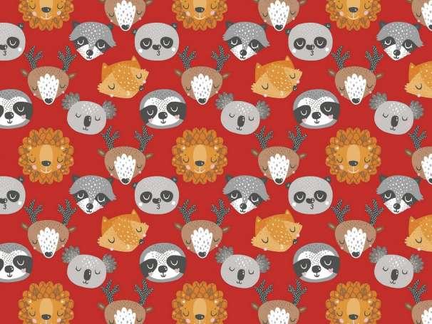 Baumwolle Stoff - Animal Hugs - Animal Faces