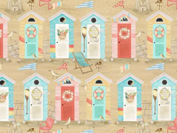 Baumwolle Stoff - Beach Travel - Beach Huts