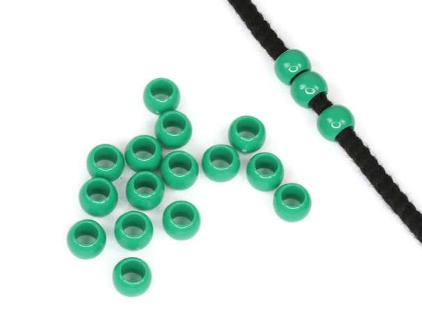 12 Kordel-Perlen - 7x10 mm - smaragd