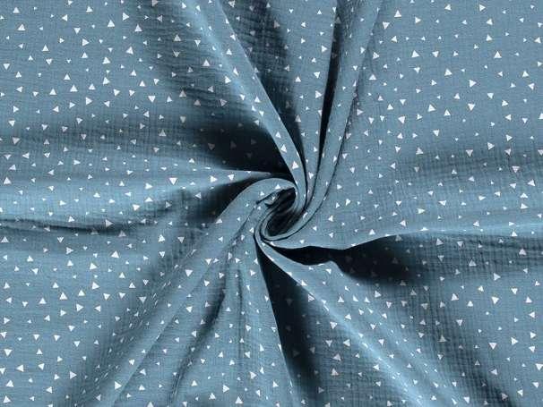 Musselin - Kleine Dreiecke, jeansblau