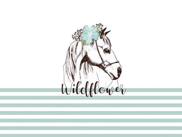 Jersey Stoff PANEL - Pferd Wildflower - dunkles mint