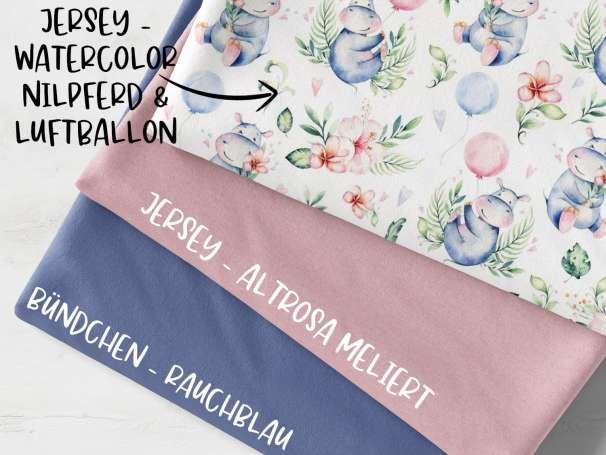 Stoffpaket - Nilpferd & Luftballon - rauchblau