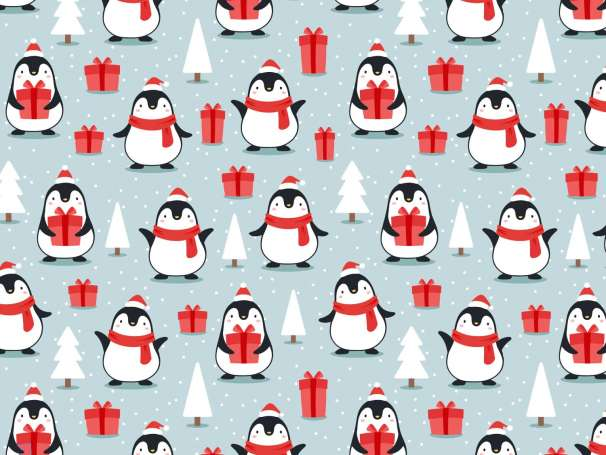 French Terry - Pinguin mit Geschenk, dunkles mint-rot
