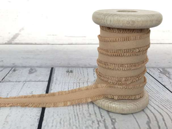 Rüschen - Gummiband - beige