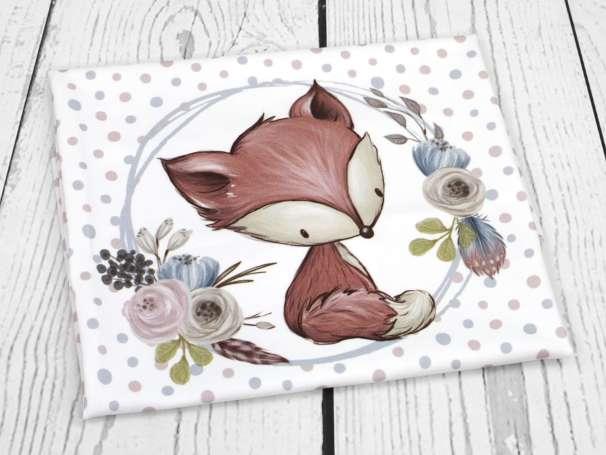 Jersey Stoff PANEL - Blumige Waldtiere - Fuchs
