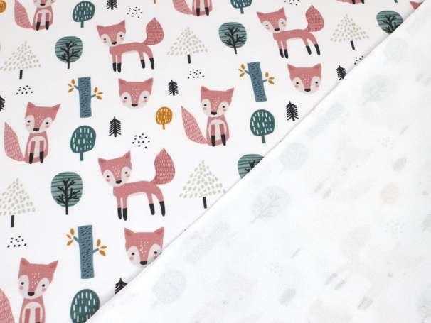 French Terry - Fuchs im Wald - weiß