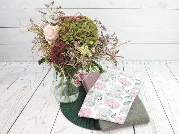 Jersey Stoff - Hortensien & Schmetterlinge - Deko