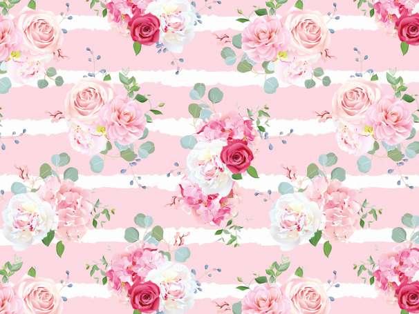 Jersey Stoff - Blumen Bouquet - rosa