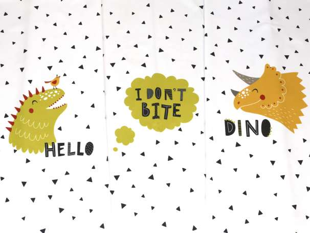 "Jersey Stoff - Dino ""I don't bite"" - PANEL"