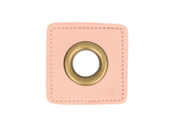 1 Kunstleder-Quadrat mit Öse - 11 mm - rosa/bronze