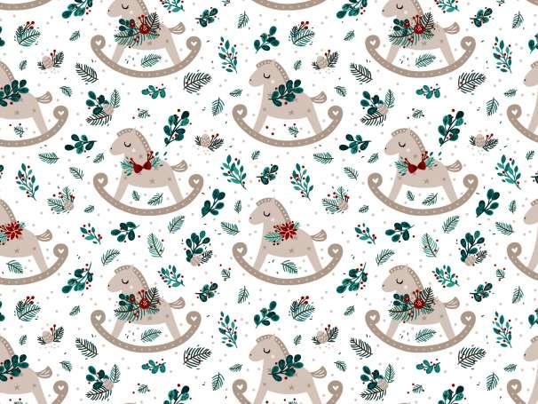 French Terry - Weihnachtswunder - Schaukelpferd