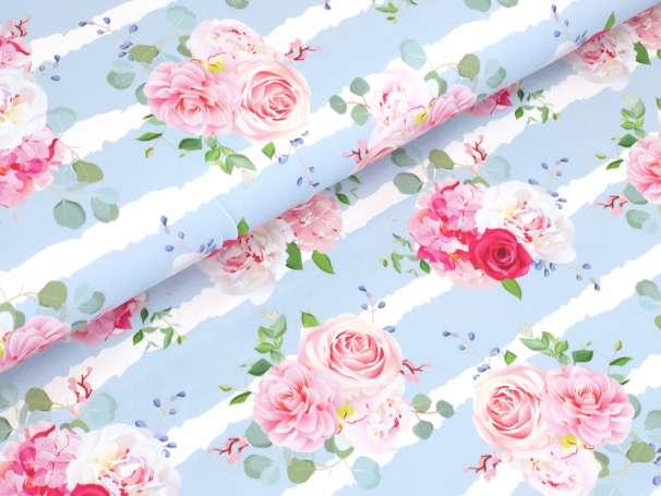 Jersey Stoff - Blumen Bouquet - blau
