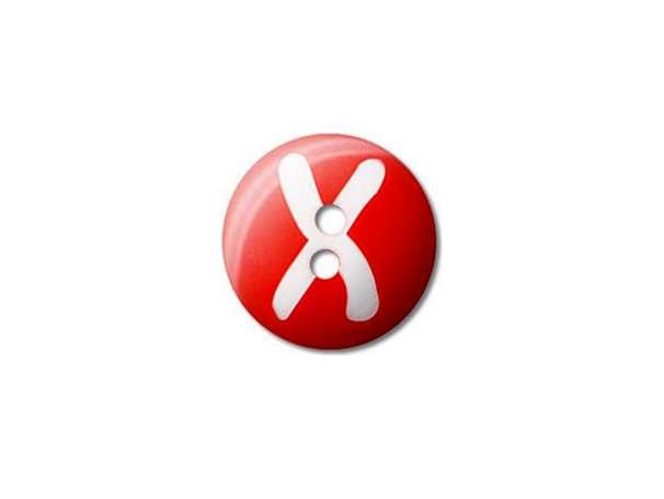 Buchstaben Knopf - Ø 15 mm - X