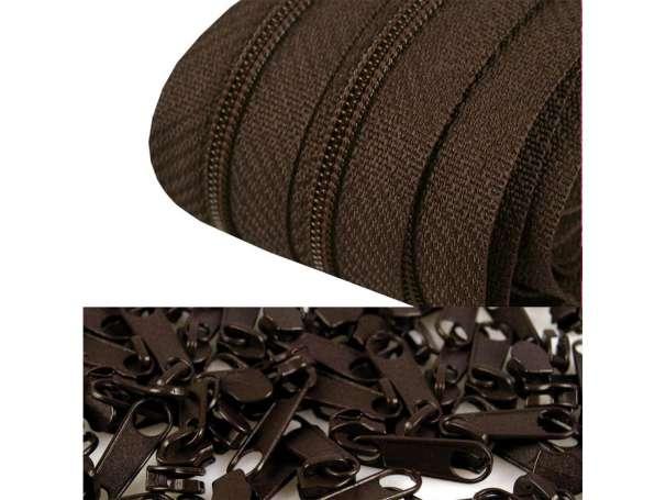 2m Endlos-Reißverschluss + 5 Zipper dunkelbraun