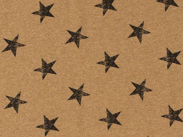 French Terry - Große Sterne - ocker,schwarz