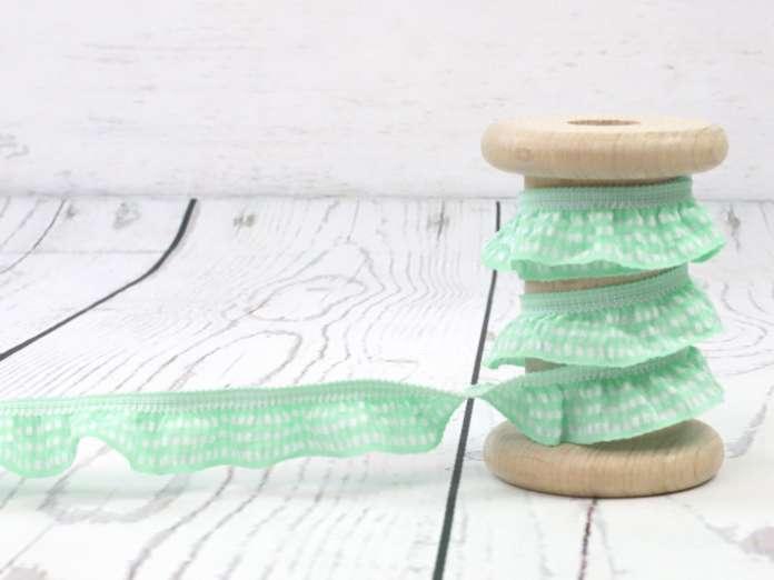 Rüschengummi - 20mm - mint/weiß