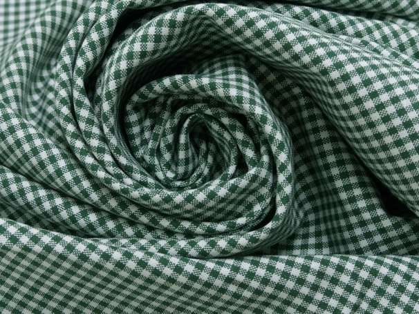 Baumwolle Stoff tannengrün/weiß - Klein Kariert