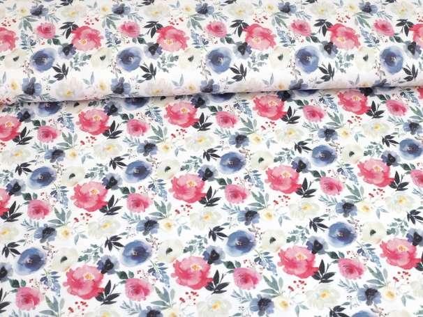 Viskose Jersey Stoff - Spring - Blumen pink,blau