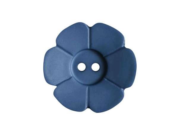 Knopf Blümchen 15mm - jeansblau