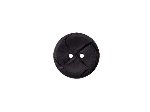 Lederimitat Knopf - 18 mm - schwarz