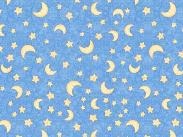 Baumwolle Stoff - Lullaby - Moon & Stars, Dark Blue
