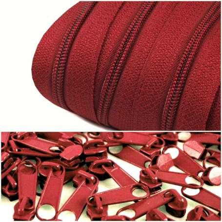 2m Endlos-Reißverschluss + 5 Zipper dunkelrot