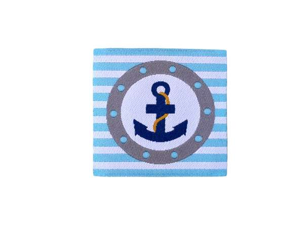 Aufnäher - Label - Anker aqua