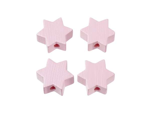 Schnulli-Stern-Perlen - 4 Stück - rosé