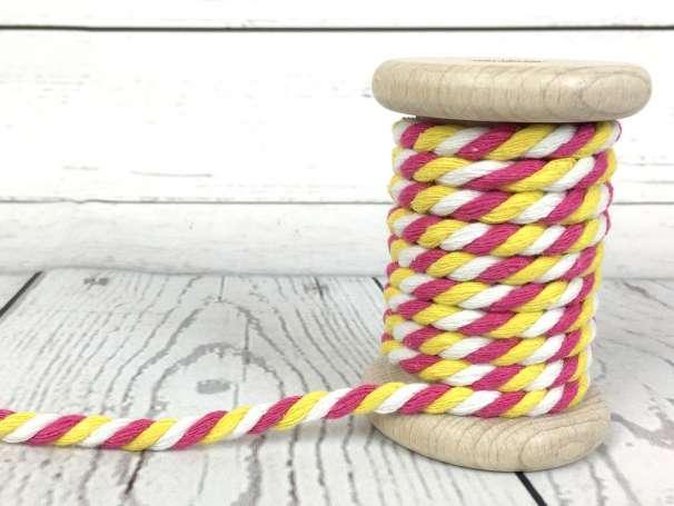 Kordel gedreht - weiß pink gelb