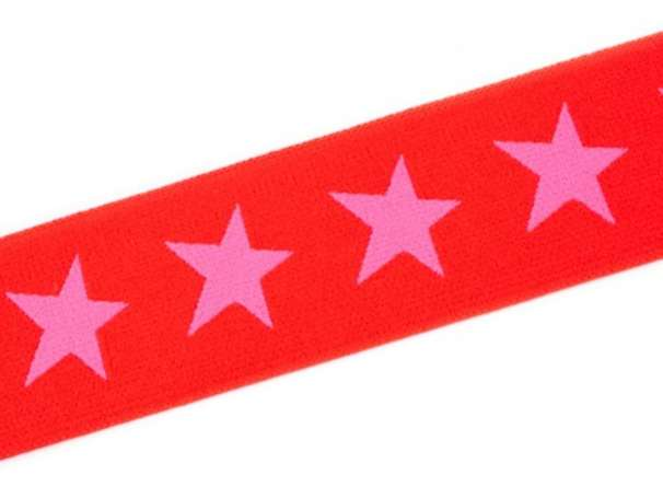 Gummiband STERN, beidseitig - 40 mm - rot,hellpink