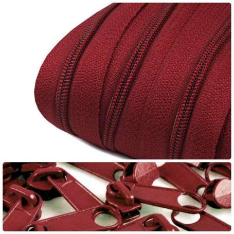 2m Endlos-Reißverschluss + 5 Zipper bordeaux