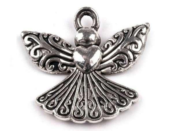 Anhänger - Engel mit Herz - platin