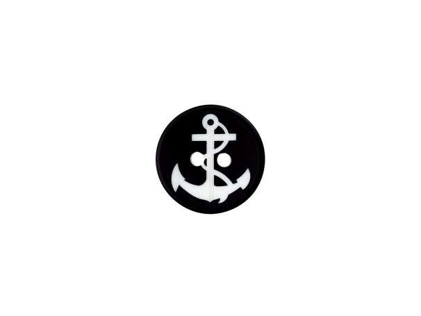 Knopf rund - Anker klein - schwarz